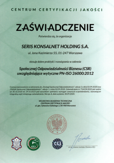 certyfikat PN-ISO 26000:2012