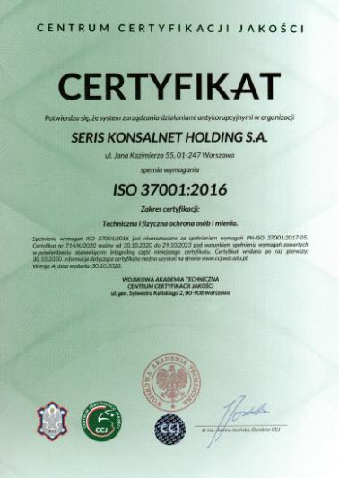 certyfikat antykorupcyjny
