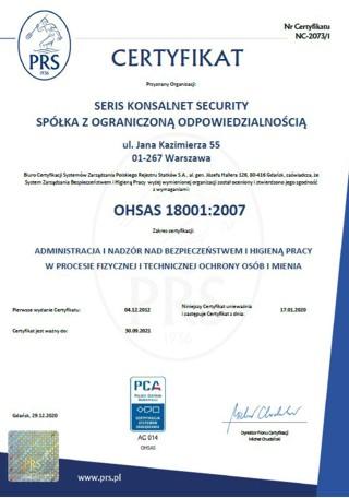 administracja inadzór nadbezpieczeństwem ihigieną pracy wprocesie fizycznej itechnicznej ochrony osób imienia OHSAS 18001-2007