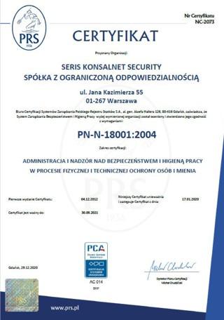 administracja inadzór nadbezpieczeństwem ihigieną pracy wprocesie fizycznej itechnicznej ochrony osób imienia PN-N-18001-2004