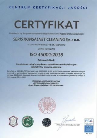 iso 45001_2015 seris konsalnet cleaning - bezpieczeństwo ihigiena pracy worganizacji