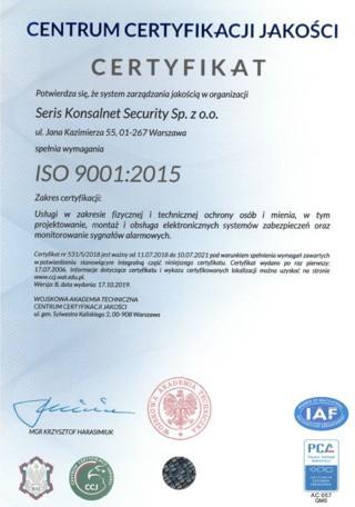 usłagi wzakresie ochrony fizycznej ISO 9001-2015