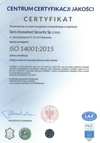 usługi wzakresie fizycznej ochrony osób imienia ISO 14001-2015